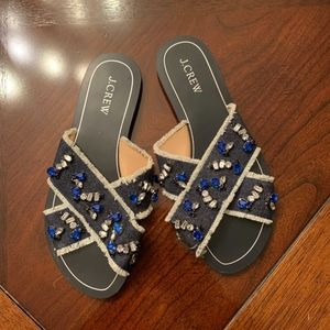 J.Crew Demin and Leather Jeweled Slide Sandals